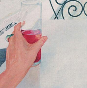 UN TINTO DE VERANO - Acrílico sobre tabla, 24x33 cm