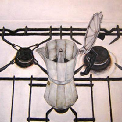 POESÍA DE UNA CAFETERA - Acrílico sobre tabla, 46x38 cm